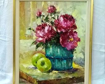 Original Oil painting Peony painting Purple Peonies bouquet painting Still life oil painting original Peonies painting Flowers painting