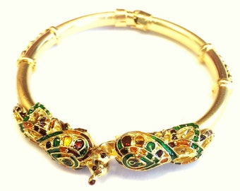 Double headed enameled peacock traditional bracelet
