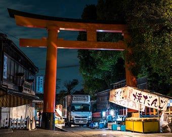 Shops & Large Torii - Fushimi Inari Taisha, Kyoto | Japan Photography | Shinto | Street | Night | Tradition | Traditional