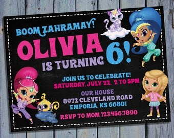 Shimmer and Shine Invitation, Shimmer and Shine Birthday, Genie Party, Magical Card Invites, Digital Printables, Personalized Invitations