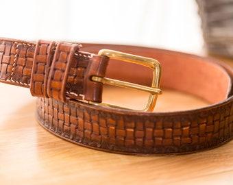 1 1/2inch Hand Tooled leather belt, 34 - 40inch waist UK