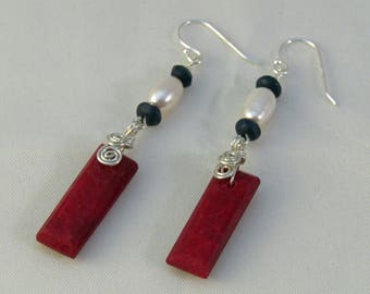 Ruby Sapphire and FW Pearl Earrings