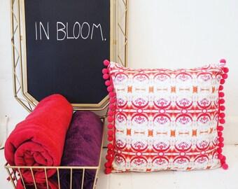 Feather Pom Pom Pink Cushion