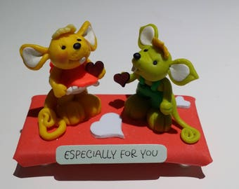 """Handmade polymer clay figures """"Especially for You"""" gift"""