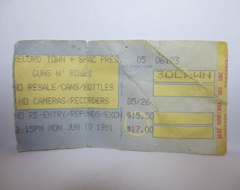 Vintage GUNS N ROSES Concert Ticket Stub