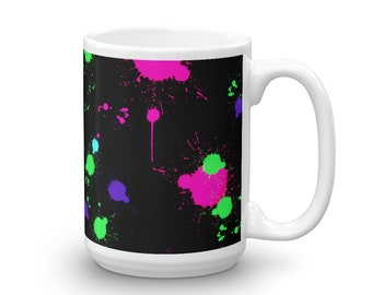 Colorful paint splattered Mug made in the USA