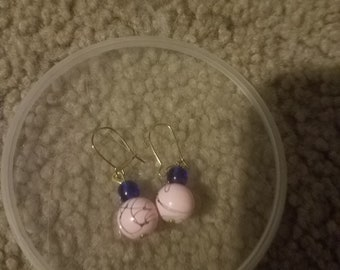 Blue and pink glass bead earrings