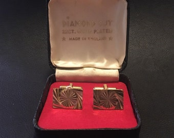 Vintage Diamond Cut 22ct Gold Plated 1970s Cufflinks in Original Box