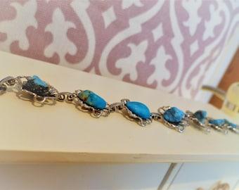 Silver-toned turquoise semi-precious stone, bracelet