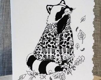 Greeting card handmade - raccoon raccoon