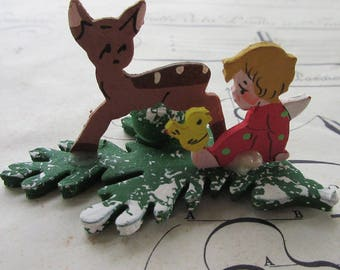 Vintage West Germany Christmas Angel Tabletop Candle Holder With Deer
