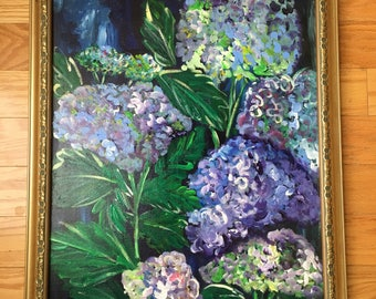 Happy Hydrangas original floral wall art painting on canvas ready to hang
