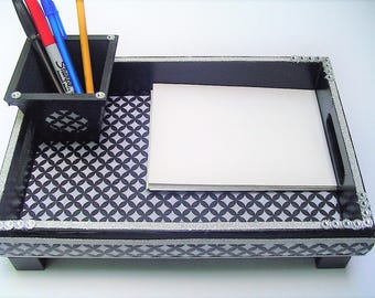 Desk tray, pencil holder, remote control tray, black and white graphic design fabric, black paint, added beads and feet