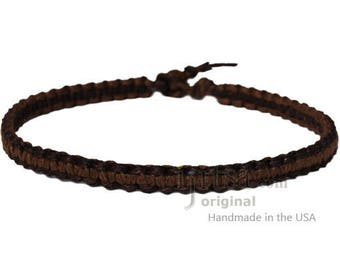 Dark Brown and Light Brown Wide Flat Hemp Choker Necklace