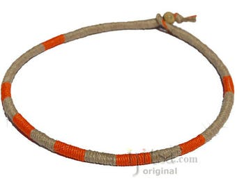 Leather Necklace Wrapped with Orange and Natural Hemp