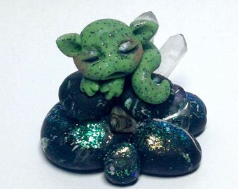 "Sleeping baby Green Crystal Cavern Dragon Trollfling Troll ""Hiko"" by Amber Matthies"