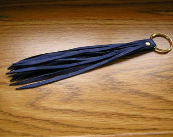 "Leather tassel keychain, navy blue leather tassel on a 1"" keyring, tassel is 8"" long,  9"" long overall"