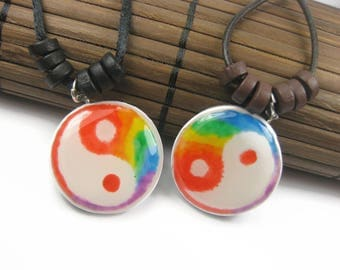 Rainbow Yin Yang Gay Pride Necklace Set, Matching Handmade Couples Pendants