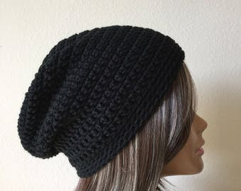 Black Slouchy Hat, Free Shipping, Beanie,  Teen or adult Modern slouchy, Trendy Beanie, hipster hat, everyday hat, Grab and go,  ladies