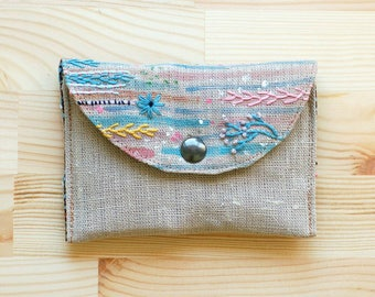Abstract painted and embroidered linen wallet, credit cards holder, cards case, coin purse, mp3 case - OOAK