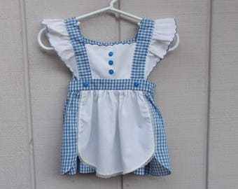 Vintage 60s Baby Girls Blue Gingham Pinafore Jumper Dress / Size 12 mos.