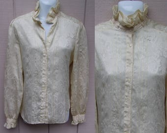 80s Cream Silky Campus Casuals Of California Long Sleeve Blouse High Neck Hipster