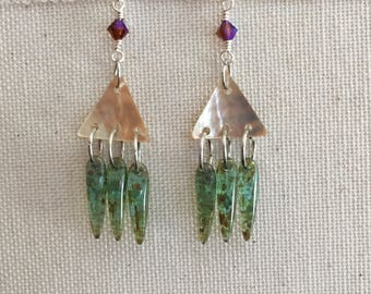 Glass Spike and Mother of Pearl Geometric Dangle Earrings