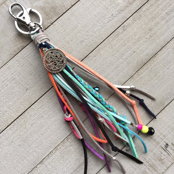 Bohemian Tassel Keychain Handbag Charm - Large Fringe Tassel with Braids and Beads - Gift Under 25, Boho Bag Charm, Faux Leather   (OOAK8)