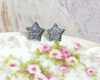 Small Sparkling Bumpy Druzy Gray Black Celestial Star Stud Earrings with Surgical Steel Posts (SE13) (SE13)
