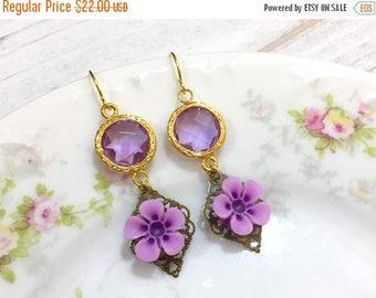 SALE Purple Flower Earrings, February Birthstone Earrings, Vintage Style Jewel Earrings, Purple Daisy Earrings, Estate Style Jewelry