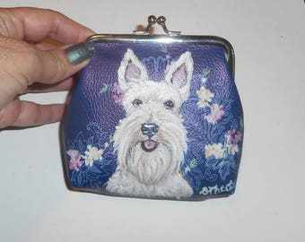 Wheaten Scottish Terrier Scottie Dog Hand Painted Leather Coin Purse Pouch Mini Wallet