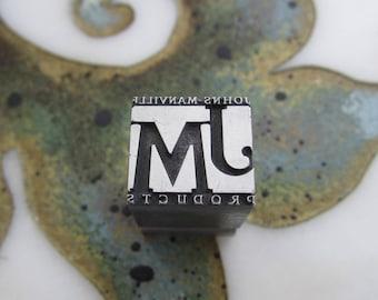 Antique Letterpress Printers Block Johns-Manville Products Logo