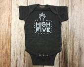 Grey High Five Onesie - Baby Shower Gift