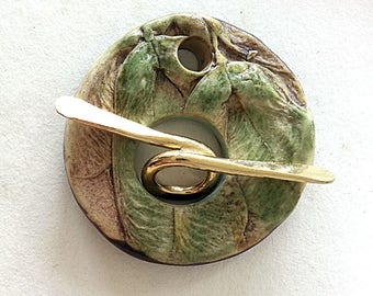 Toggle  Clasp Round  Stoneware  Maple Seed Wing Image Ceramic Clay Handmade by Mary Harding