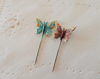 Vintage Butterfly Straight Pins ~ Metal Wings