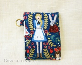 Alice Lip Gloss Holder - Literary Royal Blue Insulated Pouch with Keyring, Wonderland Lip Balm Keeper, White Rabbit Card Wallet