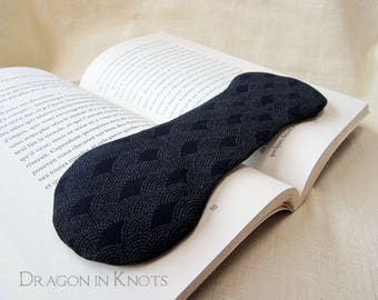 Dark Navy Blue Book Weight - Japanese Wave Fan Pattern, masculine book accessory, heavy page holder, gift for men who read, tone on tone