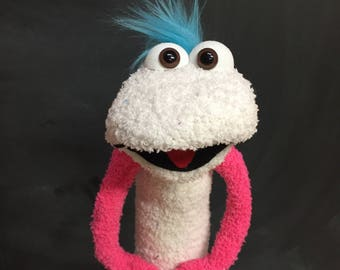 Sock Puppet Creature, Hand and Rod Puppet, Teal Blue Hair, White Body, Brown Eyes, Arm Rods