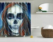RW2 Skelita Sugar Skull Shower Curtain by Robert Walker Monster High Halloween