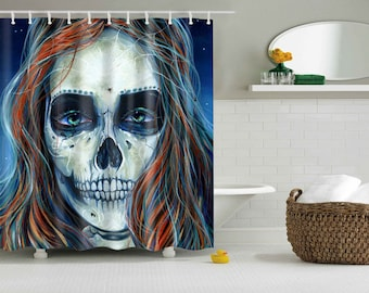 RW2 Skelita Sugar Skull Shower Curtain by Robert Walker Monster High Halloween
