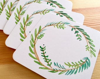 8 Watercolor Holiday Wreath Coasters - Thick Paper Christmas Wreath Drink Coasters - Holiday Drink Coasters - Decorative Christmas Coasters
