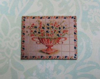 Dollhouse Miniature Urn with Flowers Tile Mural