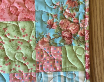 Handmade Quilted Table Runner Table Runner - Pink Green Blue Floral -  Cobblestones - quilted runner, Cottage Chic, Shabby, Floral Fabric