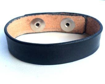 "Leather Cuff Wristband Blank 3/4"" wide Black"