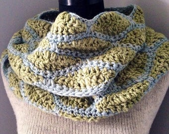 SALE Celery Green and Pale Blue Infinity Scarf, Endless Loop Scarf, Chunky Cowl,