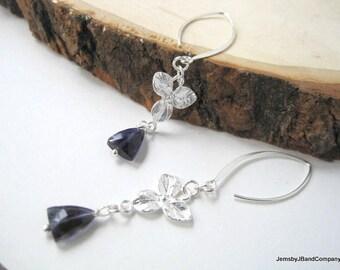 Iolite Dangle Earrings,Faceted Triangles,  Sterling Silver, Long Gemstone Earrings, Elfin Earwires, Dark Blue Floral Earrings, One of a Kind