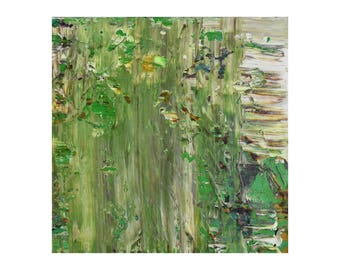 "Small ORIGINAL Abstract Painting ""Green Haze"" by Lisa Carney, Textured Acrylic, Modern Abstract, Minimalist Painting, Reductive Art, Green"