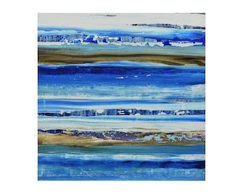 "ORIGINAL Abstract Painting ""Aqua 11"" by Lisa Carney, Modern Art, Minimalist Painting, Stripes, Organic, Geometric, Contemporary, Coastal"