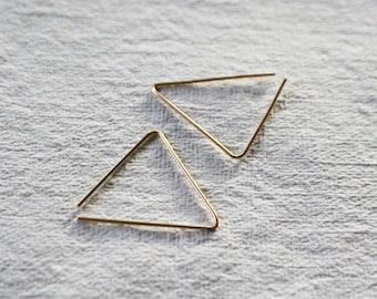 Simple Hoops, Gold Fill Hoop Earrings, Minimalist Hoops, Medium Sized Hoops, Geometic Hoop Earrings, TRIANGLE