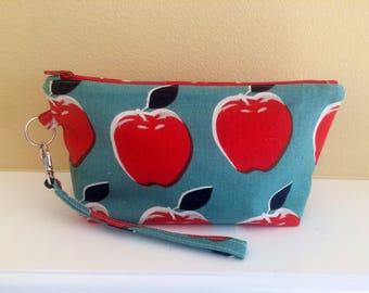 The Essential Zipper Wristlet- Cherry and Aqua Apples